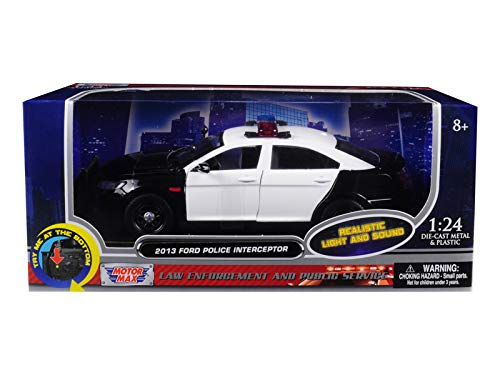 Motormax 79539 1: 24 W/B - 2013 Ford Police Interceptor with Light & Sound, Black/White ()