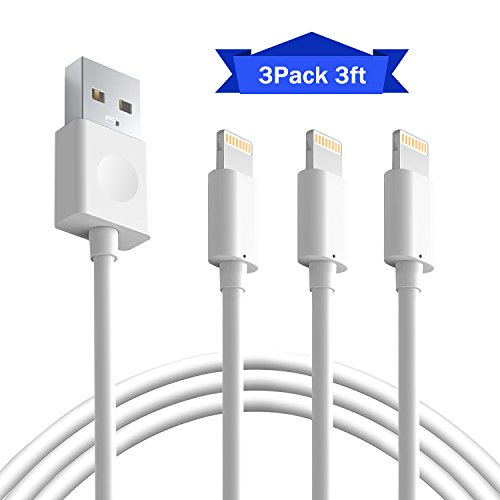 iPhone Charger BUDGET&GOOD 3Pack 3FT 8 pin Charging Cables USB Charger Cord Compatible with iPhone 7 7 Plus 6s 6s Plus 6 6 Plus 5 5S 5C SE iPad and iPod (White)