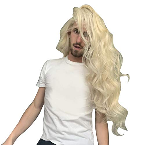 Aleola Long Wavy Hair for Men gold Wigs Party Halloween Movie Cosplay Costume Wig]()