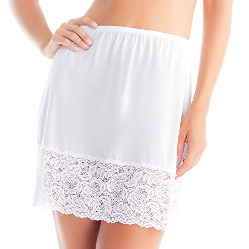 Women's Lace Half Slip Skirt White Medium (18 inch)
