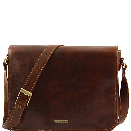 Tuscany Leather Messenger double Freestyle leather bag Brown by Tuscany Leather