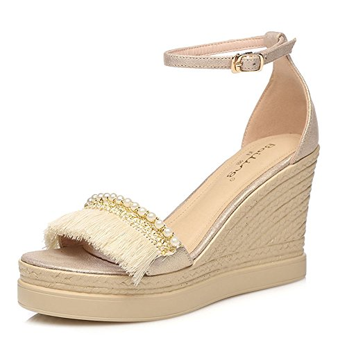 Sandals ZHIRONG Fashion Women's Summer Open Toe Waterproof Platform Tassel Wedges Bohemia Thick Bottom Beach Shoes 9CM (Color : Beige, Size : EU36/UK4/CN36) Beige