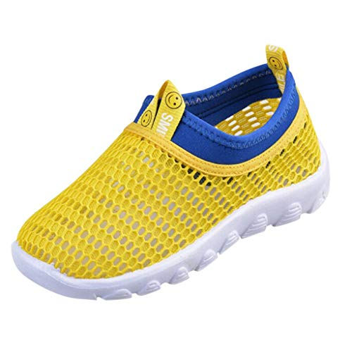 ♡QueenBB♡ Toddler Kids Water Shoes Breathable Mesh Running Sneakers Sandals for Boys Girls Running Pool Beach Yellow