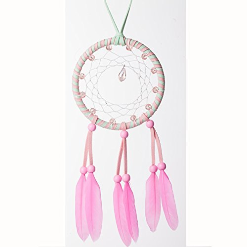 Handmade Beaded Feather Dream Catcher Circular Net For Car Kids Bed Room Wall Hanging Decoration Decor Ornament Craft ,Dia of Circle: 4.33inch (pink-girl heart)-By The (Beaded Heart Ornament)