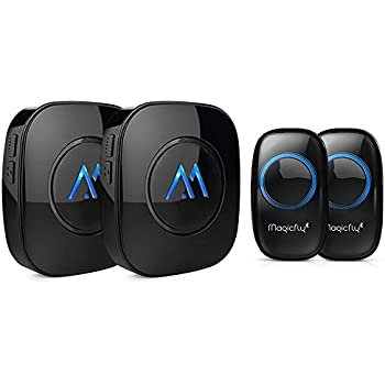 Magicfly Expandable Wireless Doorbell Kit Operating at 1000 ft Range with Over 50 Chimes Doorbell Chime Alert System [2 Remote Button Transmitter & 2 Plugin Receiver], Black