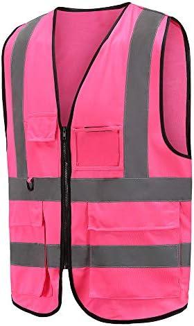 [Gesponsert]Mehrere Taschen,Mehrere Farben, Unisex hochsichtbare Warnweste Hohe Sichtbarkeit Warnweste Reflektierende Weste Reißverschluss Sicherheitswesten EN ISO 20471 (XL, Pink)