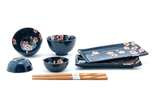 Fuji Merchandise Pink and Blue Sakura Cherry Blossoms Sushi Dinnerware 6pc Set for Two Including Plate Sauce Bowls and Rice Bowl with Chopsticks Made in Japan