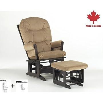 Dutailier Round Back Cushion Multiposition Modern Glider, Light Brown Microfiber