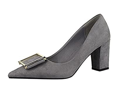 Hydne Women's Fashionable Europe Simple Rough Heels Suede Leather High Heels Shoes