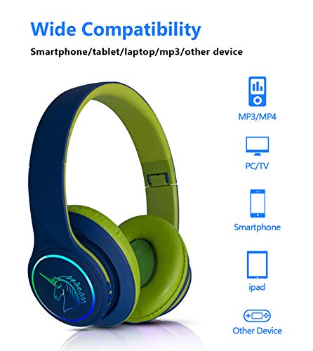 Unicorn Wireless headphones, Yusonic Over Ear Kids Bluetooth Headphones with Microphone and SD Card Solt for iphone/ipad/Smartphone/Smart TV and so on. (Blue)