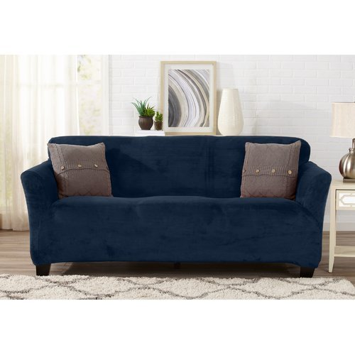 Symple Stuff Velvet Plush Form Fit Stretch T-Cushion Sofa Slipcover from Unknown