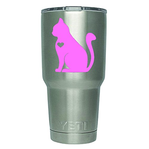 (DD423LP 2-Pack Cat Heart Decal Sticker (DECAL ONLY CUP NOT INCLUDED) | 3 Inches | Premium Quality Light Pink Vinyl | Yeti RTIC Orca Ozark Trail Tumbler Decal )