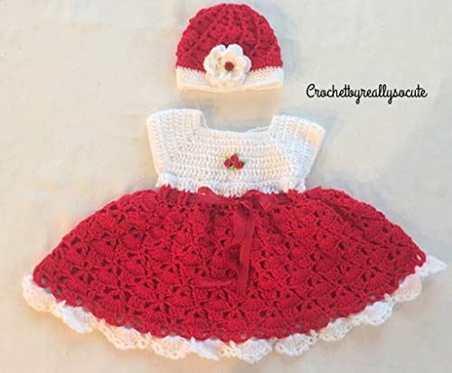 Christmas baby dress, Baby first Christmas dress, baby girl red dress and beanie set,3-6 Month baby outfit, flower baby hat, Red baby beanie, spring baby outfit, Handmade baby outfit