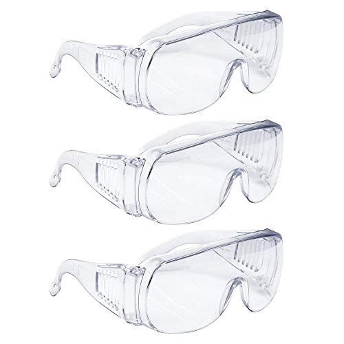 AMSTON Safety Glasses, Personal Protective Equipment, Eyewear Protection, Clear, ANSI Z87+, High Impact, Vented Sides, For Construction, Laboratory, Chemistry Class (1 Pack) (Prescription Work Glasses)
