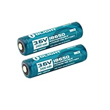 Olight 3400 mAh 3.6V Protected 18650 Rechargeable Li-ion Batteries 2 in pack