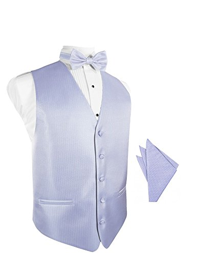 (Periwinkle Herringbone Tuxedo Vest with Bowtie & Pocket Square Set)