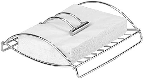 Decorrack Chrome Paper Napkin Holder With Weighted Metal Arm Flat