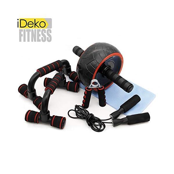 Ideko® Kit Appareils de Fitness 5 en 1 Roue Abdominale + 2X Poignée de Pompe + Corde à Sauter + Pince à Main Tapis pour Genoux Femme et Homme pour Gym renforce Musculation accessoires de fitness [tag]