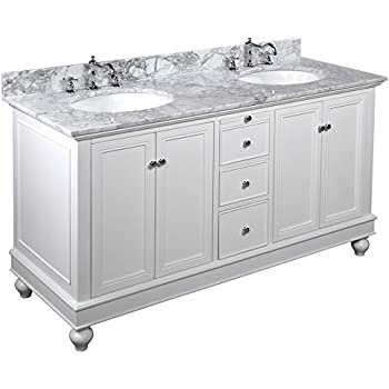 """Kitchen Bath Collection KBC222WTCARR Bella Double Sink Bathroom Vanity with Marble Countertop, Cabinet with Soft Close Function and Undermount Ceramic Sink, Carrara/White, 60"""""""