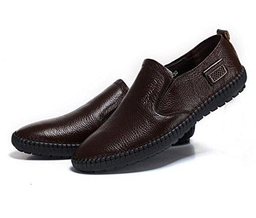 GRRONG Zapatos De Cuero Del Ocio Hombres Del Cuero Genuino Negro Marrón Brown
