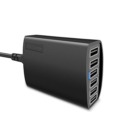 USB Charger, CIVIE High Speed 60W Multiport USB Charger 6-Port USB Desktop Charger Station Hub with PowerSmart Technology for Smartphone, iPhone, Samsung, Huawei, Ipad, Table and More