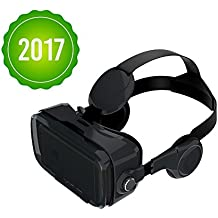Owl BOBOVR Z4 with HEAD STRAP AND HEADPHONES Google Cardboard VR Headset for smartphones up to 6 inches iPhone, Samsung Galaxy (Black)
