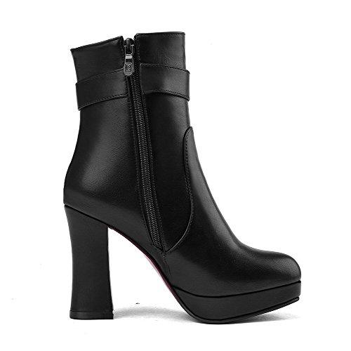 AllhqFashion Damen Blend-Materialien Reißverschluss Rund Zehe Hoher Absatz Stiefel, Schwarz, 33