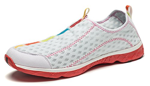 Smapavic Men's and Women's Unisex Mesh Quick Drying Slip On Lightweight Auqa Water Shoes, US 7 Women/US 6 Men, White/Red (EU Size: 38)