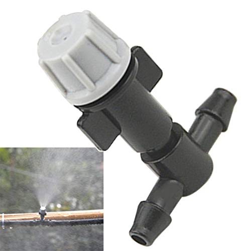 BEYST 100Pcs Misting Irrigation Nozzle with Tee Joints, Plastic Drippers Sprinkler Connector, Garden Sprayer Atomizing Irrigation Watering Plant Cooling System(Black)