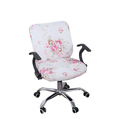 BEOTARU Office Chair Covers Stretch Cotton Fabric Computer Chair Slipcover Flower Printed Removable Rotating Chair Cover
