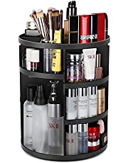 Syntus 360 Rotating Makeup Organizer, DIY Adjustable Bathroom Makeup Carousel Spinning Holder Rack, Large Capacity Cosmetics Storage Box Vanity Shelf Countertop, Fits Makeup Brushes, Lipsticks