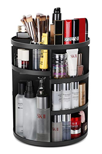 Syntus 360 Rotating Makeup Organizer, DIY Adjustable Bathroom Makeup Carousel Spinning Holder Rack, Large Capacity Cosmetics Storage Box Vanity Shelf Countertop, Fits Makeup Brushes, Lipsticks, Black