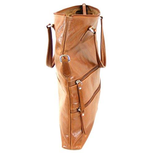 Pavini - Bolso de tela de piel vacuna para mujer Marrón marrón claro