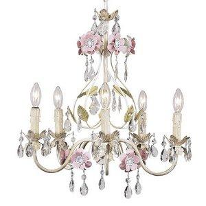 (Jubilee Collection 7436 5 Arm Flower Garden Chandelier, Ivory/Sage/Pink)