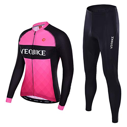 (EoCot WoCycling Jersey Long Sleeve Bike Clothing Road Bicycle Shirts Padded Pants for Couple Pink Size L)