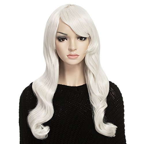 YOPO Wig, 28'' Long Silvery Wigs for Women with Free Wig Cap & Bobby Pins, Wavy Curly Cosplay Synthetic (Cheap Coloured Wigs)