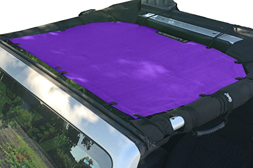 Alien Sunshade Jeep Wrangler Mesh Shade Top Cover with 10 Year Warranty Provides UV Protection for Front Passengers 2-Door or 4-Door JK or JKU (2007-2017) (Royal Purple)