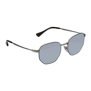a2364072286 Persol Men s PO2446S Sunglasses Demi Gloss Gunmetal Light Green Mirror  Silver 52mm