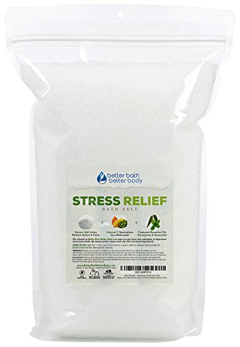 Stress Relief Bath Salt 128 Ounces Epsom Salt with Spearmint and Eucalyptus Essential Oils Plus Vitamin C and All Natural Ingredients