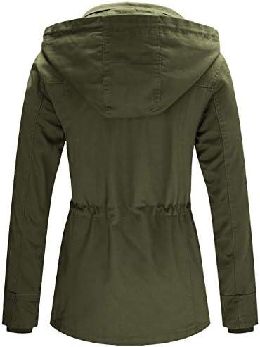 WenVen Women's Spring Cotton Military Coat Anorak Jacket with Detachable Hood