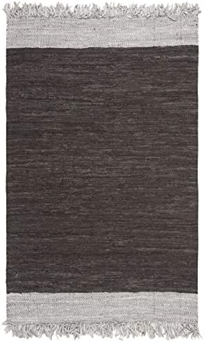 Safavieh Vintage Leather Collection VTL310C Hand-Woven Light Grey and Brown Area Rug 4 x 6
