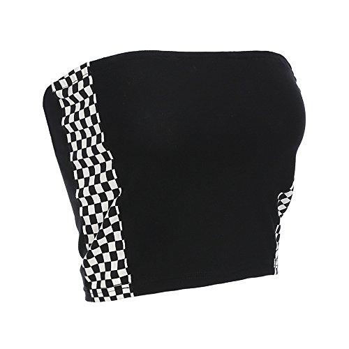 malianna Women Black and White Plaid Tube Tops Side Checkboard Strapless Wrap Tops