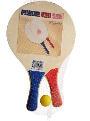 Paddle Ball Beach Ball Game - Wooden Set of 2 Paddles and Ball - By Trademark Innovations (Blue & Red Paddles) (Two Wooden Paddles)