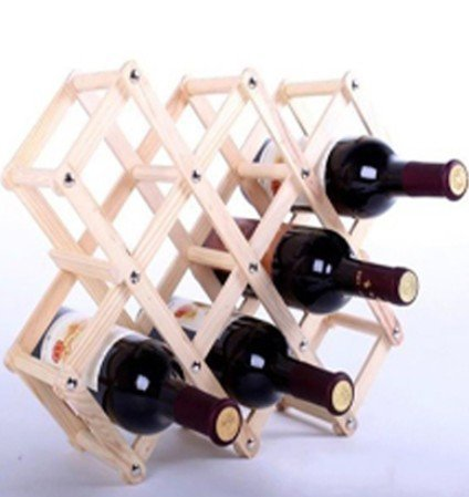 ANBANA Wood Foldable Diamond-Shaped 10-Bottle Wine Rack (Rack Flow Wine)