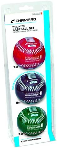 Champro Basic Weighted Training Baseball (Red/Maroon/Green, 9-Inch)