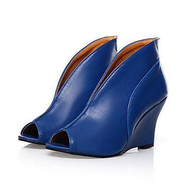 Verano Mujer Lvyuan 12 Azul Tacones Pu Cms 10 Blanco Básico Negro Blue Pump Cuña Tacón ggx Casual Tq54qY