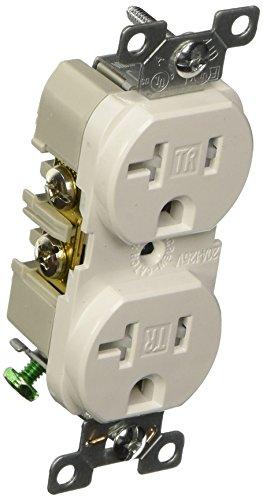 EATON TRBR20W-BXSP 20-Amp 3-Wire 125-Volt Tamper Resistant Commercial Grade Duplex Receptacle 2-Pole, White