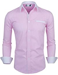 Mens Classic Vertical Striped Fake Pocket Longsleeve Shirt