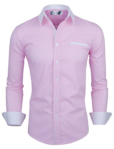 Tom's Ware Mens Classic Vertical Striped Fake Pocket Longsleeve Shirt TWCMS01-PINK-US XXL ()