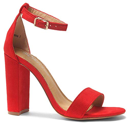 (Herstyle Rosemmina Womens Open Toe Ankle Strap Chunky Block High Heel Dress Party Pump Sandals Red)